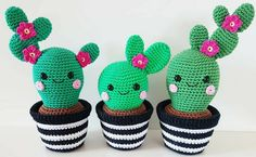 """Cactus Friends """" English pattern by Super Cute Design. Includes step-by-step pictures. This is a pattern for 3 cactus friends with a crochet pot. These cactuses looks super cute as decoration!Cactus Friends PDF Pattern, amigurumi, crochet from Supe Crochet Simple, Crochet Diy, Crochet Amigurumi, Crochet Gifts, Amigurumi Patterns, Crochet Dolls, Amigurumi Toys, Crochet Ideas, Cactus En Crochet"""