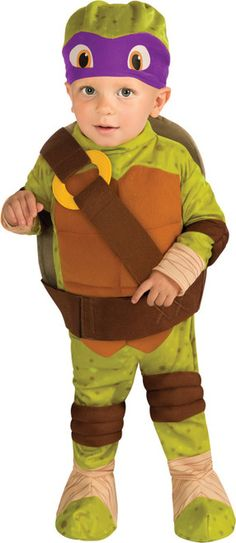 Donatello Child Costume Teenage Mutant Ninja Turtles - This is a cute Donatello romper from Teenage Mutant Ninja Turtles, Cowabunga! This instant licensed cartoon character costume is perfect for your crime-fighting tiny tot. Who doesn't love TMNT kid's costumes? No one, that's who.  This complete Donatello costume comes with a suit with foot covers and removable shell with belt, and a hat. #ninja #infant #tmnt #costume #yyc #calgary