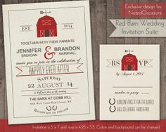 I can recreate this to print on home printer. Red Barn Wedding Invitations - Rustic Country Barn with Modern Typography and Fun ! Barn Wedding Invitations, Rustic Invitations, Wedding Invitation Suite, Farm Wedding, Diy Wedding, Rustic Wedding, Wedding Ideas, Trendy Wedding, Wedding Stuff