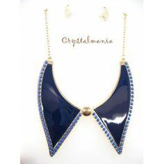 Set de collar y artes en tono azul rey estilo 3060