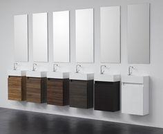 Schick fürs Gäste-WC und für kleine Badezimmerräume, Waschbeckenunterschrank inkl. Waschbecken und Spiegel