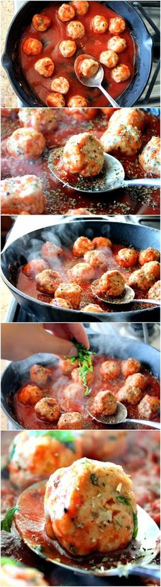 Turkey Meatballs in Spicy Tomato Basil Sauce with Burrata