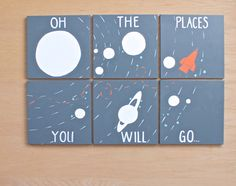 { Oh the places you will go! }  A perfect piece of art to brighten up any room, bedroom, and nursery. A very modern and graphic out of this world