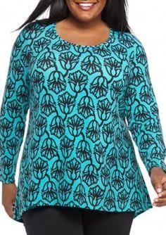 Kaari Blue   Plus Size Zip Back Swing Tunic