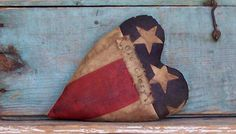 Heart pillow made from vintage American flag. Perfect for your primitive Americana decor! Click pic to buy on Etsy ...