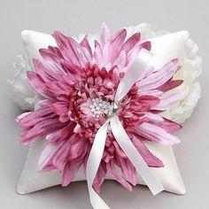 Ring pillow - wedding ring bearer pillow, flower ring pillow, pink ring pillow - Evelyn
