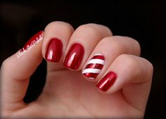 #Christmas #CandyCane #Nails #ChinaGlaze Ruby Pumps & white stripes