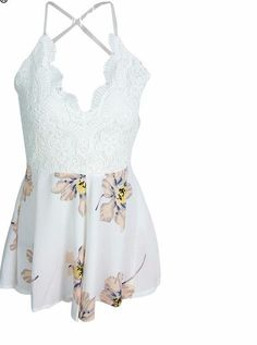 Country White Lace Flower Tank Top Skirt