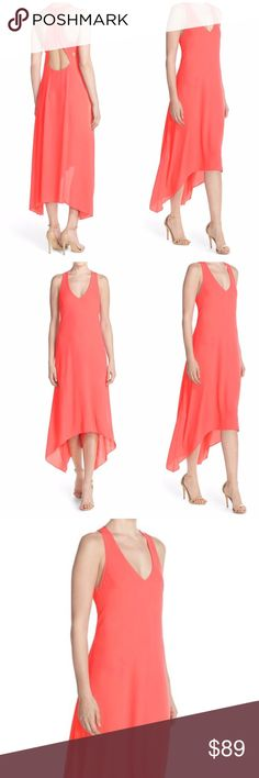 "BCBGMaxAzria Cutout Hi Low Maxi Dress BCBGMAXAZRIA Ariell' Cutout Georgette High/Low Maxi Mid-Length Dress Coral Reef. Details 45"" to shortest point; 56"" to longest point . Back zip closure. V-neck. Racerback. 100% polyester with 65% rayon, 30% nylon, 5% spandex contrast.  A medley of back-baring cutouts, a plunging V-neck and a high/low hem give contemporary edge to a light and flowy maxi dress crafted from silky georgette. BCBGMaxAzria Dresses Maxi"
