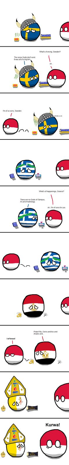 """Ancient Religions"" ( Sweden, Greece, Egypt, Vatican, Poland ) by Flying Blue Wolf #polandball #countryball"