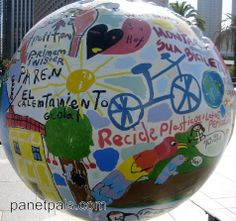 great idea for earthday ...have kids write and draw earth friendly messages on a giant ball or paper mache globe.  make a big statement for the rest of the world to see!