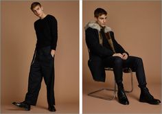 Left: Samuel Roberts embraces the oversized look in Chapter trousers with a Ksubi sweater and Dr Martens loafers. Right: Samuel dons a Yves Salomon parka with a Publish tee, Ksubi pants, and Dr Martens boots.