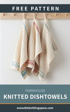 Farmhouse Knitted Dishtowels [FREE Knitting Pattern] : Make a set of these coun. Farmhouse Knitted Dishtowels [FREE Knitting Pattern] : Make a set of these country-inspired knitte Dishcloth Knitting Patterns, Crochet Dishcloths, Free Knitting, Knit Patterns, Knit Crochet, Easy Knitting Projects, Knitting For Beginners, Dish Towels, Tea Towels