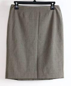 Banana Republic Tan Wool Knee Hi Plain Front Work Skirt 2 #BananaRepublic