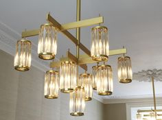 Venetian crystal and solid brass drop pendant light by Peter Mikic
