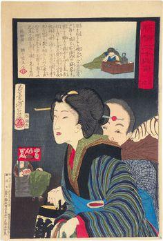 Tsukioka Yoshitoshi (1839-1892): The Twenty-Four Hours at Shinbashi and Yamagibashi: 1 a.m., woodblock print, 1881.