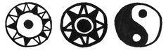 """Bastonul cu Nod şi Pasăre - eCreator    Motive solare cu """"centrul negru""""   (Cultura Suciu de Sus;  elemente etnografice din Transilvania   şi simbolul yin-yang)"""