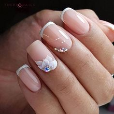 Cute white flowers on pink nails  #nails #inspiration #pink #white #floral