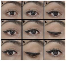 This idea is starting from the lower corner of the eye and step by step by making a wing it is forwarding toward the inner corner. Artistically create a thick expression of eye liner by filling it gradually