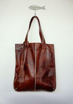 brown leather tote bag with  tassels by HandMadeByKonovalovy, $80.00