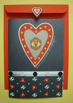 Lin Handmade Greetings Card: Manchester United theme