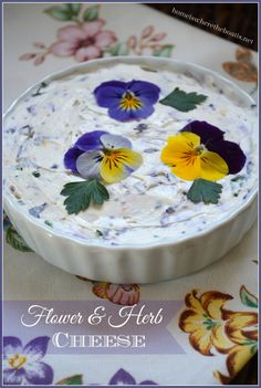 Flower & Herb Cheese! Easy and beautiful with edible flowers and herbs that adds a 'wow' factor for a shower, garden club lunch or tea | homeiswheretheboatis.net #tea #edibleflower