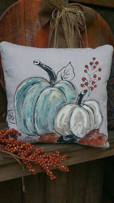 Blue and White Pumpkins Hand-painted Pillows Fall Decor Fall Pumpkin Pillows Pillow Cover Pumpkin Pillows, Fall Pillows, Diy Pillows, Pillow Ideas, Throw Pillows, White Pumpkins, Painted Pumpkins, Fall Pumpkins, Diy Pillow Covers