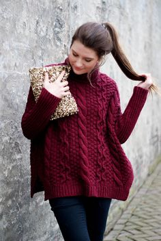 Beautiful cabled sweater-- and I love the color!