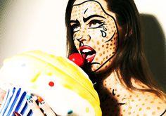 roy lichtenstein makeup inspiration Halloween Outfits, Fall Halloween, Halloween Makeup, Happy Halloween, Pop Art Costume, Comic Costume, Roy Lichtenstein, Comic Book Makeup, Crazy Makeup