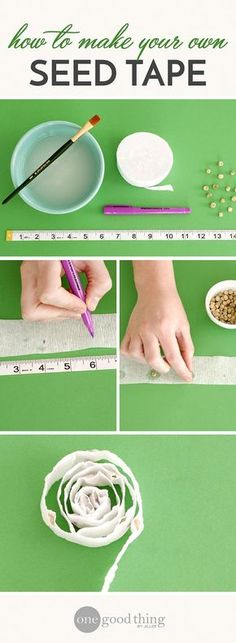 How To Make Seed Tape For Easy Spring Planting Depending on where you live, it's time to plant your garden, or soon will be! Make planting day a breeze by making your own seed tape for a fraction of the cost of pre-made. Diy Garden, Garden Projects, Garden Landscaping, Shade Garden, Indoor Garden, Landscaping Ideas, Landscaping Borders, Garden Oasis, Garden Path