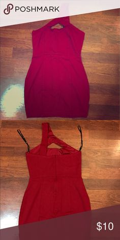 Little Red Dress Mid thigh form fitting dress, stretchy. Perfect for a sexy night out. Forever 21 Dresses One Shoulder
