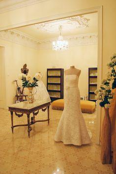 Designer bridal shop Barcelona...love the ceiling
