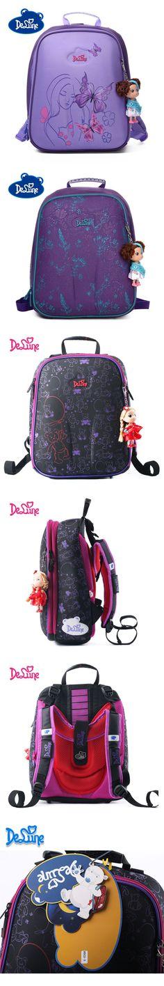 Authentic Delune 2016 school backpack children for girls little Children school bags kids for boys plush backpack child cars 3D $47.9