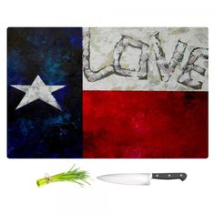Patti Schermerhorn's Love For Texas Kitchen Cutting Board | DiaNoche Designs