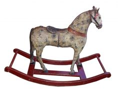 19th Century American Rocking Horse with real horse hair tail and mane.