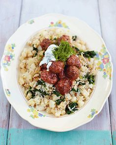 Jamie Oliver - swedish meatballs, celeriac & spinach rice (15 min meals)