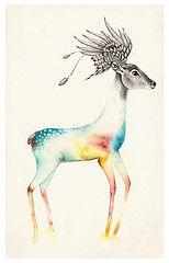 venado (-Siniestra-) Tags: lapiz alas animales ilustracion plumas acuarelas volar venado alado