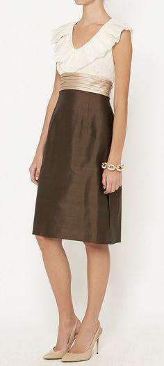 Escada Brown, Gold And Cream Dress | VAUNTE