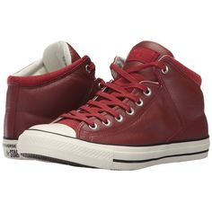 Converse Chuck Taylor All Star Street Hi - Tumbled Leather (Terra... (933.310 IDR) ❤ liked on Polyvore featuring shoes, sneakers, high-top sneakers, red high top shoes, leather high tops, red shoes and red sneakers