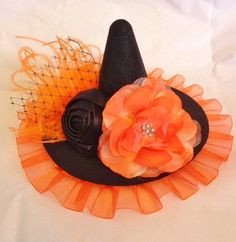 mini witch hat witch headband halloween flower by lexicouture, $16.95