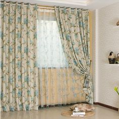 Country Floral Printed Cotton And Poly Curtains (Two Panels), Buy Beige  Print Blackout Curtains, Cheap Poly/Cotton Blend Polyester Curtains Sale