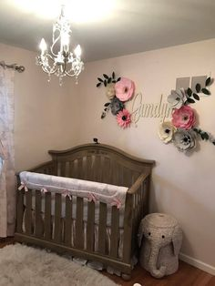 Paper Flower Wall Nursery Decor Gray Backdrop Pink 3d Playroom Art Laundry Room Dining