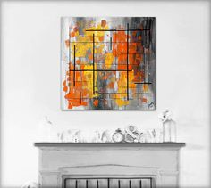 Made to order. Original abstract painting on canvas. 24x24 Geometric with yellow, orange, gray. Canvas art Yellow painting. Modern painting.