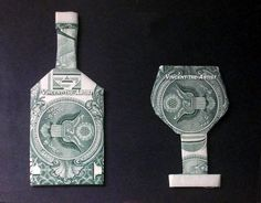 Wine Bottle & Cup Money Origami