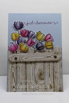 Watercolour Tulips - so easy and so sweet.  Lovely Spring feel to this card with Blessed Easter, Hardwood and A Dozen Thoughts.  Use your Blender Pens and Markers to Watercolour perfectly every time!  Click for Video Tutorial #Flowers #Watercolor #VideoTutorial