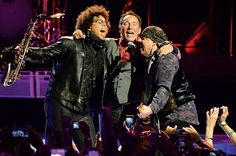 Springsteen (center) with saxophonist Jake Clemons (left) and guitarist Steven Van Zandt at Barclays Center in Brooklyn on April 25. Springsteen and The E Street Band's The River revival is the top tour of 2016 so far.