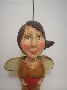 Primitive Paper Mache Folk Art Angel with by papiermoonprimitives, $45.00
