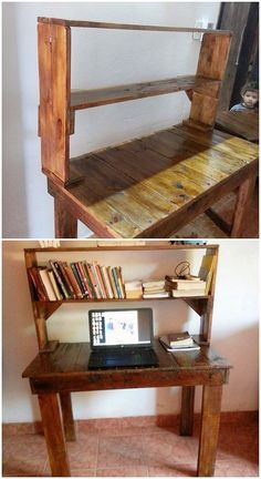 This image will make you show out the form of wood pallet project in the office or study table work. This table has been although carried out with the simple design work where the shelves has been adjusted over the top portion of the table.