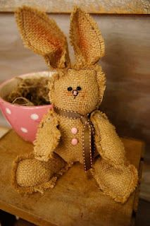 Burlap bunny rabbit! So cute!