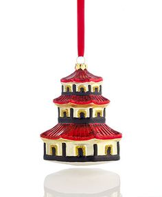 Holiday Lane Christmas Ornament, Glass Pagoda